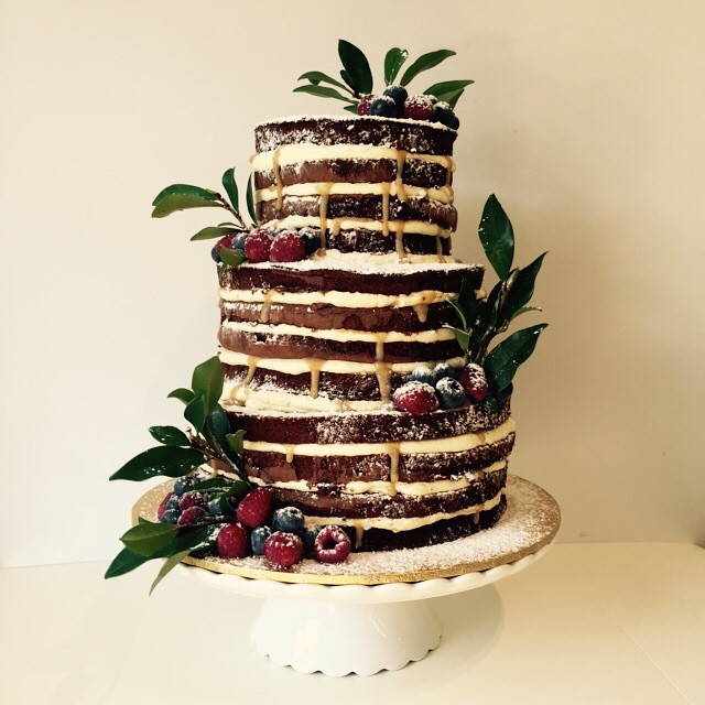 Vanilla Pod Chocolate sponge naked layer wedding cake with vanilla cream and salted caramel.jpg