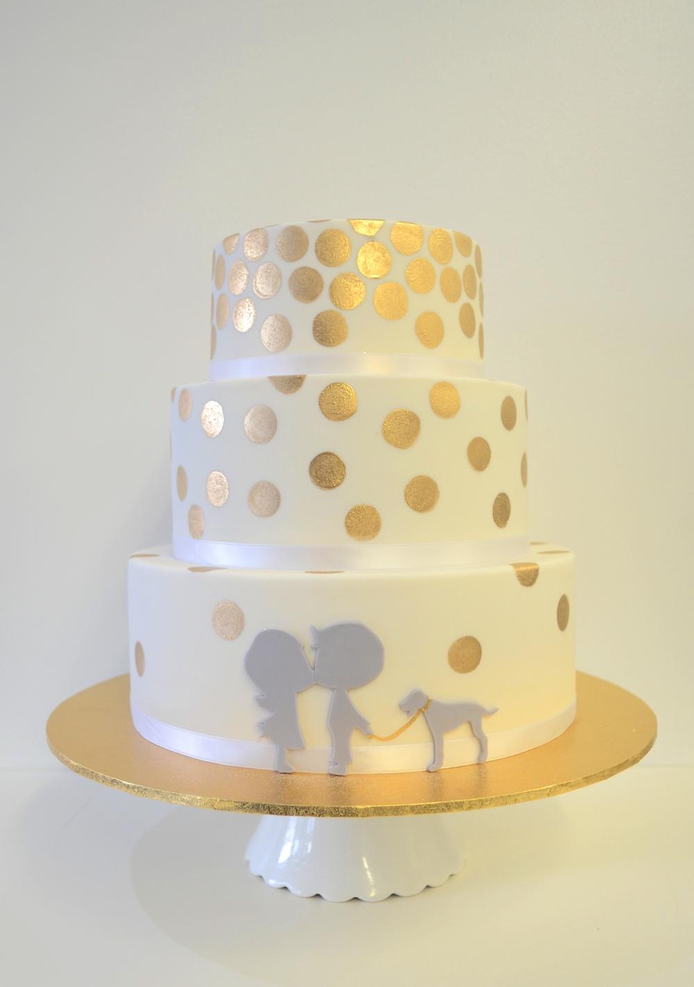 Vanilla Pod fondant wedding cake with gold confetti and sillouettes (2).JPG