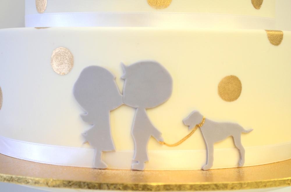 Vanilla Pod fondant wedding cake with gold confetti and sillouettes (1).JPG