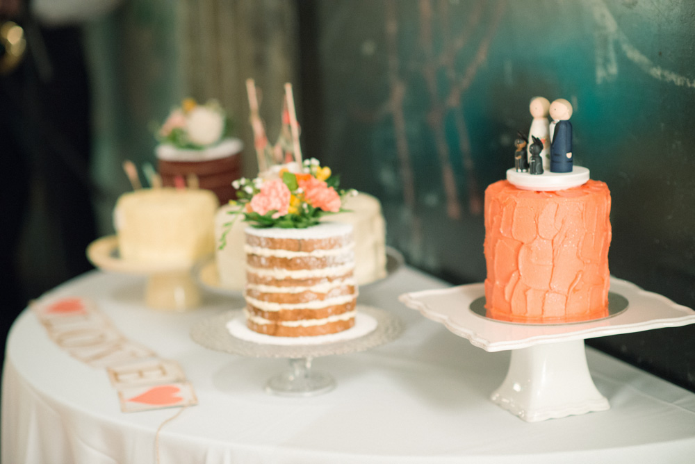 Five is better than one! - The Bride and Groom chose to offer their guests a choice when it came to picking their slice of cake Photo: Josie Richardson Photography