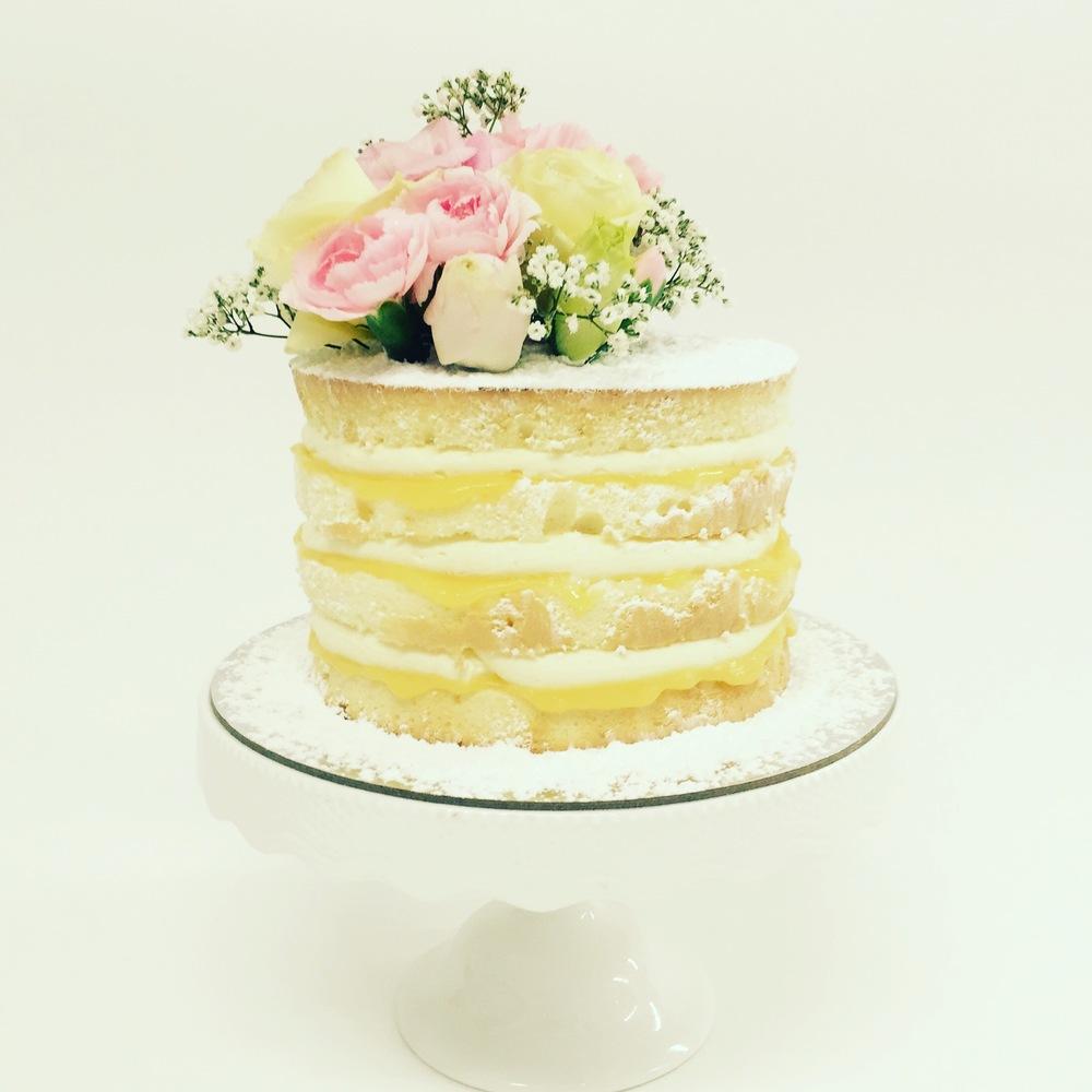 Vanilla pod Engagement Cake topped with fresh flowers Brisbane Naked Layer Cake lemon.JPG
