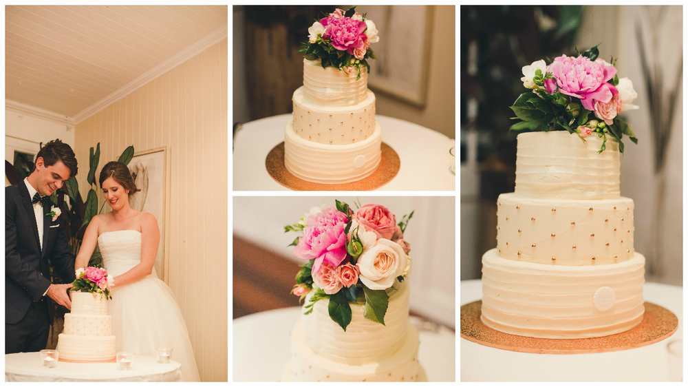 3 tier frosted cake with gold and fresh flowers Brisbane wedding cakes Hillstone.jpg