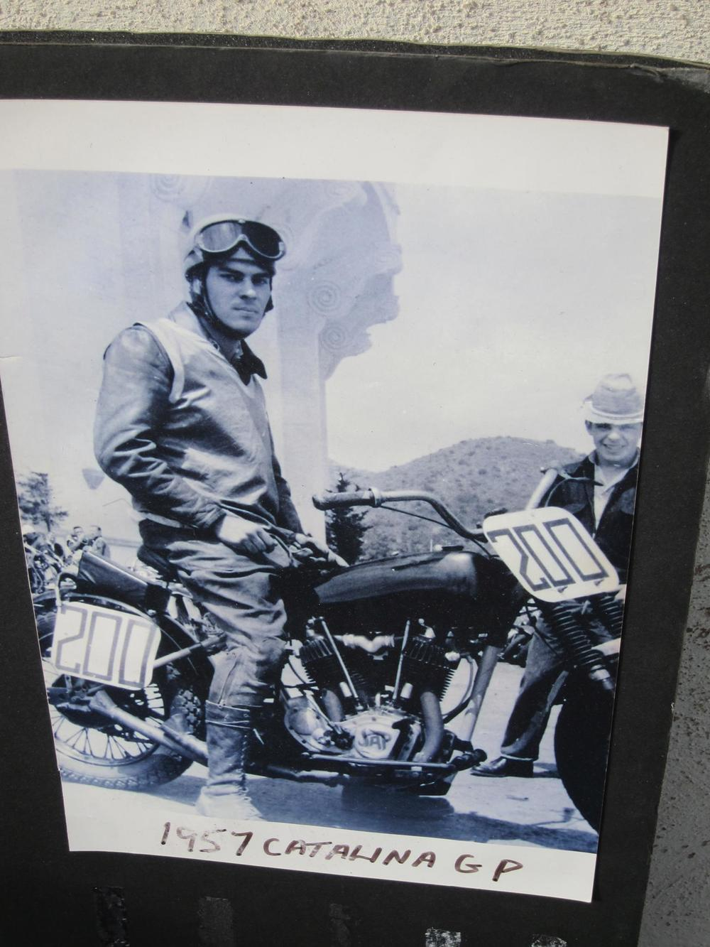Homer on his 1929 Harley Davidson JD Twin at the 1957 Catalina Grand Prix.