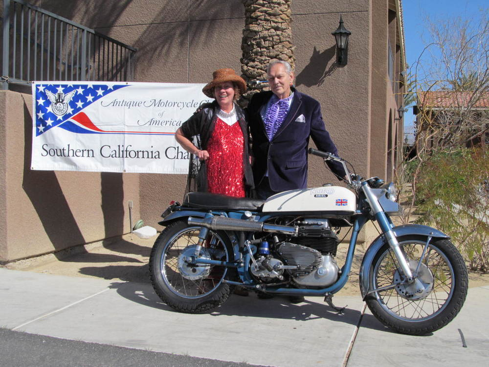 Homer and his long-time friend Mary Jo at the 2015 SoCal AMCA Borrego Springs Winter Road Run.
