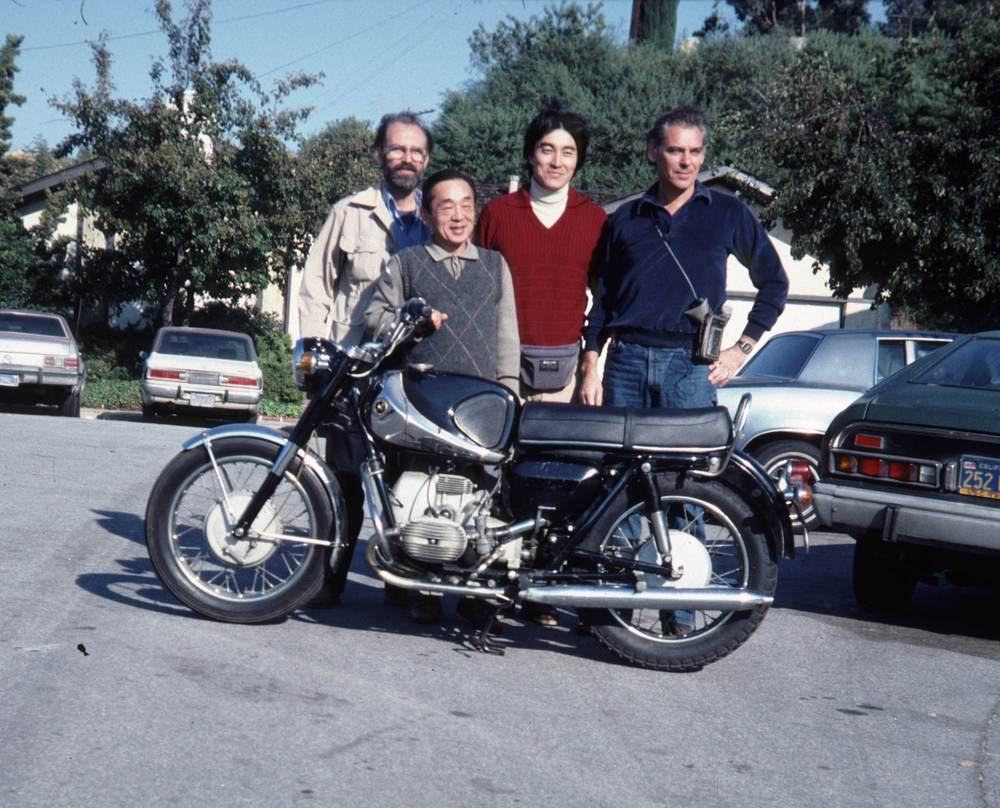 L to R: Ralph Walker, Roy Hiraishi, Tad Takasu and Homer, with Tad's Marusho Electra, in 1985. Photo submitted by Ralph Walker. See his thoughts in the below blog post.