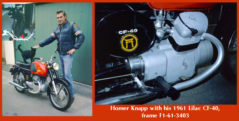 Homer with his shaft-drive 125cc Lilac CF40, and one of the cats that attached themselves to him. Photo submitted by Ralph Walker.