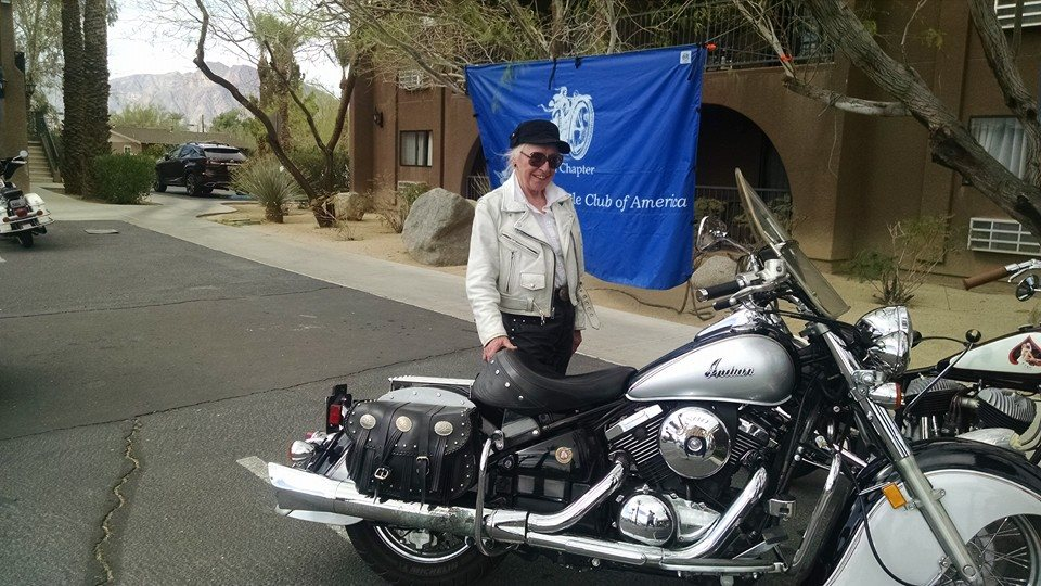 March 5 - Our Grace McKean just finishing today's ride at SoCal AMCA Borrego Springs Winter Road Run!