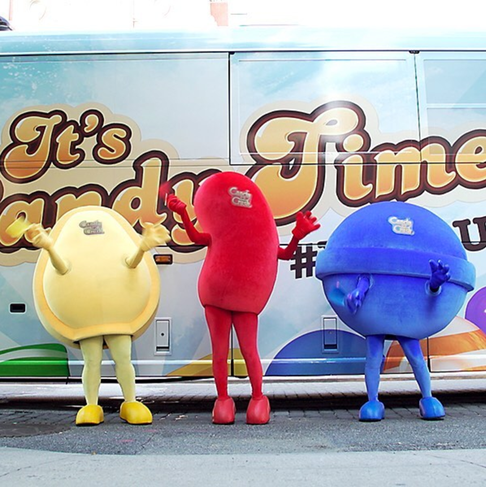 "Candy Crush Bus Tour - THE ASK""Anyone want to wear a mascot costume & travel across the country for 10 days on a tour bus from June 19th to 30th?! (not kidding)"" - Facebook postTHE IDEAJoin the team from Big Spaceship as the red jelly bean mascot on their Candy Crush promotional bus tour across America. I didn't know anyone on team, I'd never done on-camera work, and I'd never slept in a bunk bed on a bus but I only had one question: Where do I sign?**To be clear, I was not the art director on this campaign. I was there only as"
