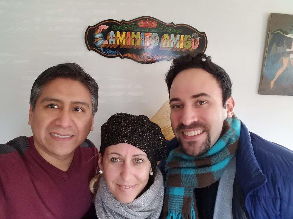 José, Analía Centurión and Jeremias Fors. Always a tearful goodbye.