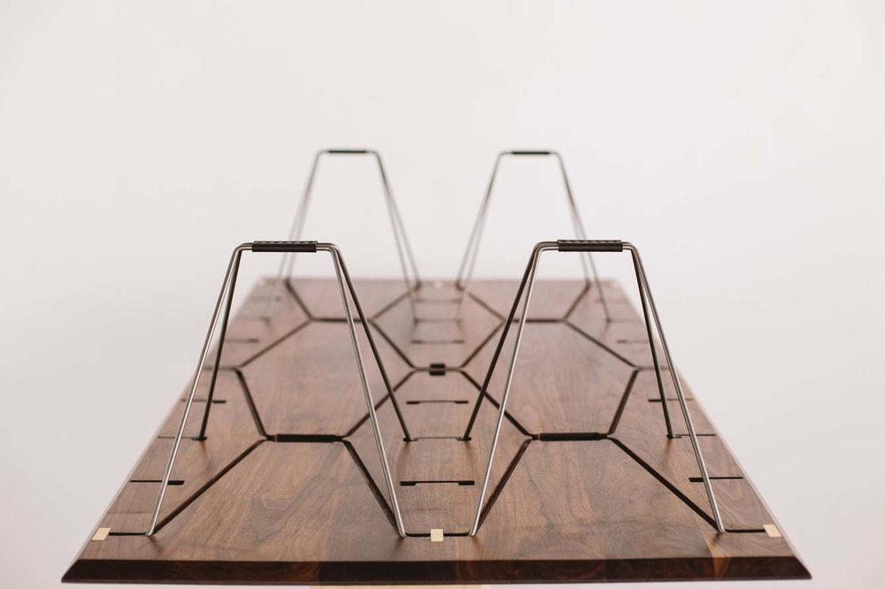 walnut, brass, and leather -limbo coffee table by Design-Built