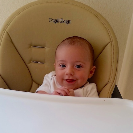 Baby Sal, chilling in his big friend Ike's high chair.