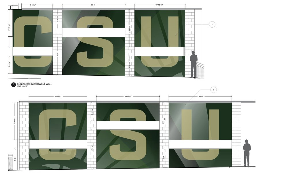 The architect's original renderings of the Northeast and Northwest concourse walls.