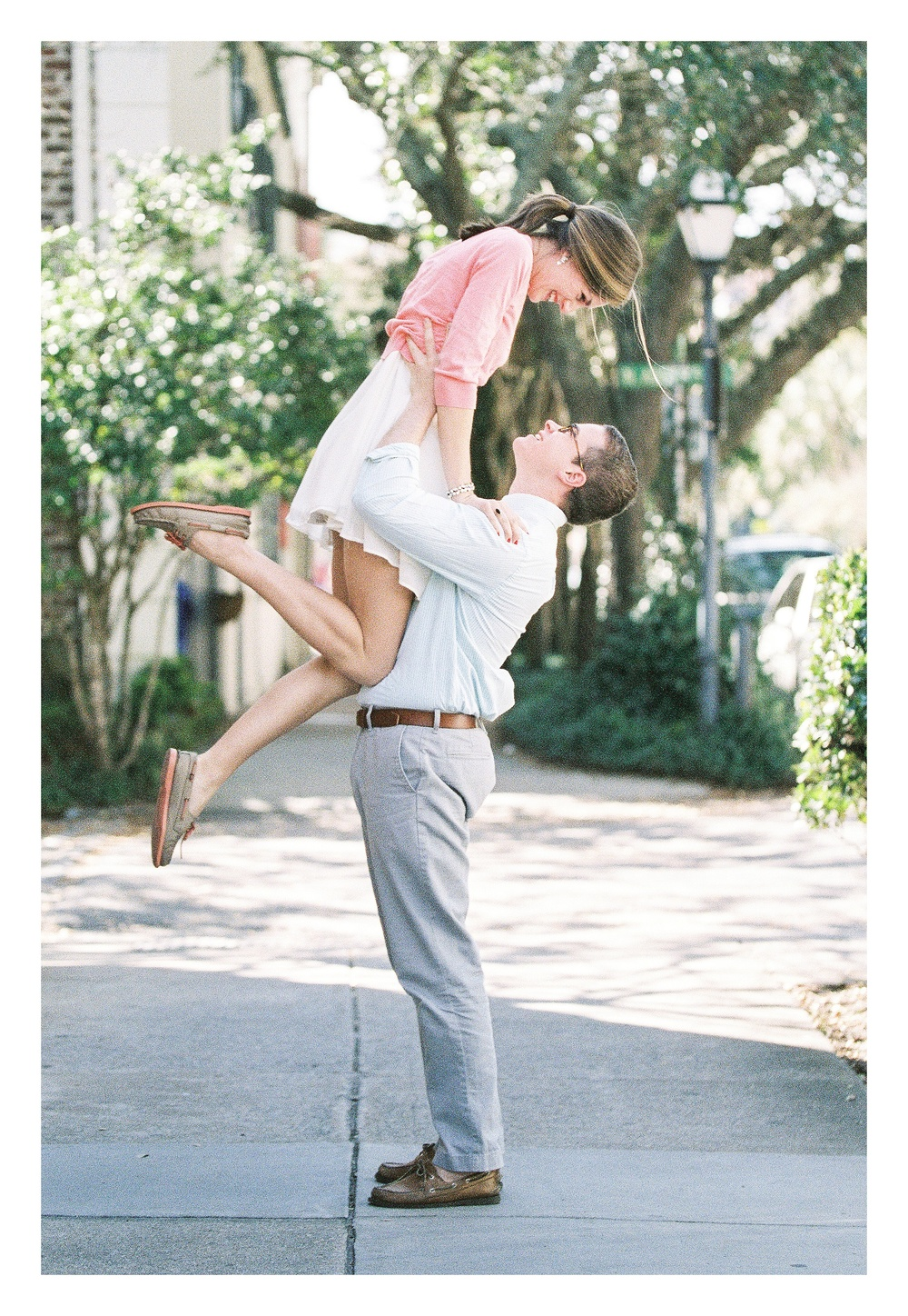 Charleston engagement photographer captures excited couple during downtown Historic Charleston engagement photos