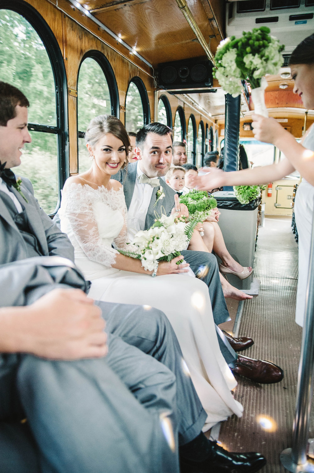 wedding party on trolley at Cheekwood Art & Garden wedding, Nashville, TN