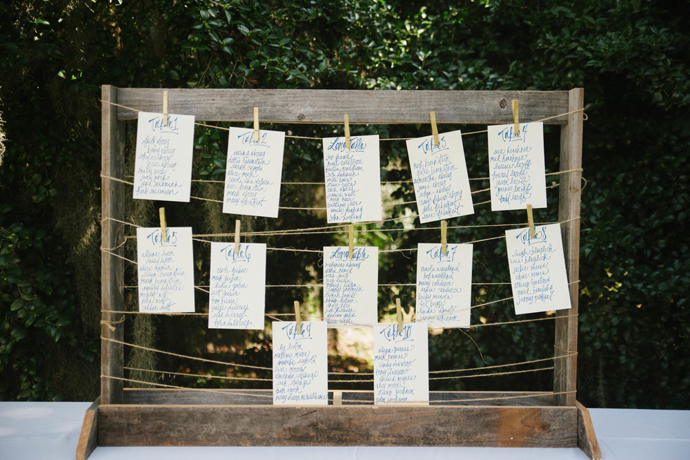 Wedding seating arrangements hand written calligraphy
