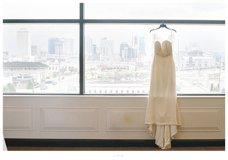 wedding dress detail shot with nashville skyline