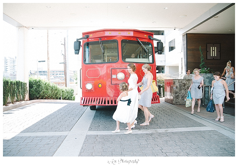 red trolley as wedding transportation