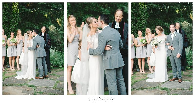 bride & groom kiss during ceremony at cheekwood estates