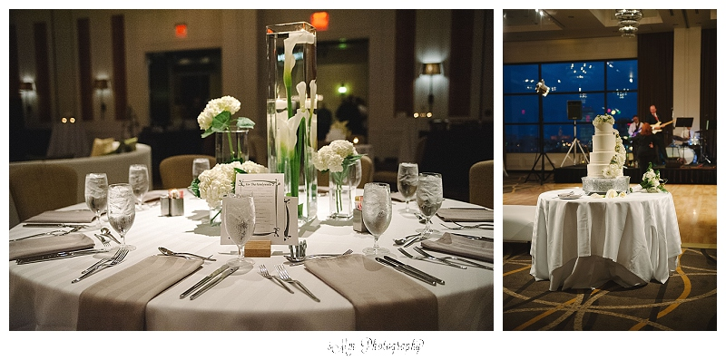 table centerpieces for classic green & cream wedding at hutton hotel