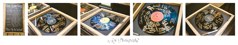 Guest sign old records as keepsakes