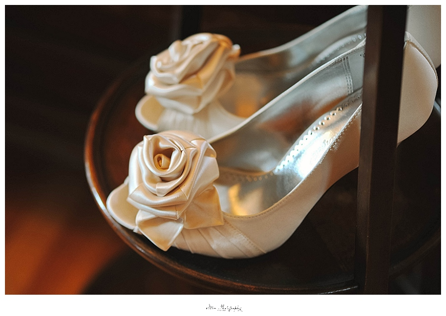 wedding photo of bride's shoes