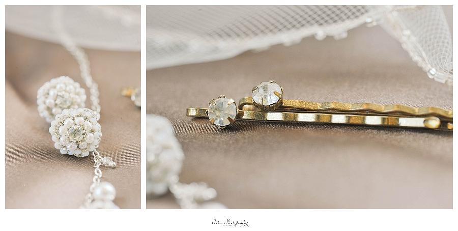 wedding photo of something old and something new bridal jewelry