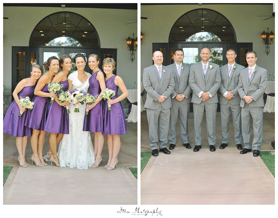 bridesmaids pose with bride, groomsmen pose with groom at brakefield