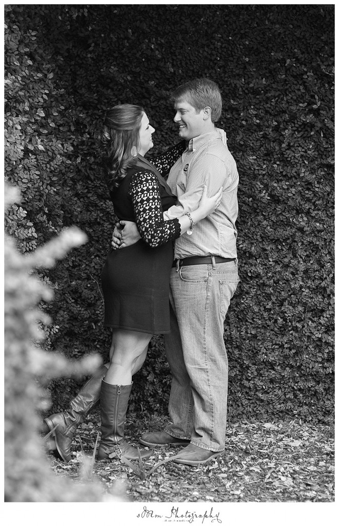 black and white image of couple in Columbia, SC