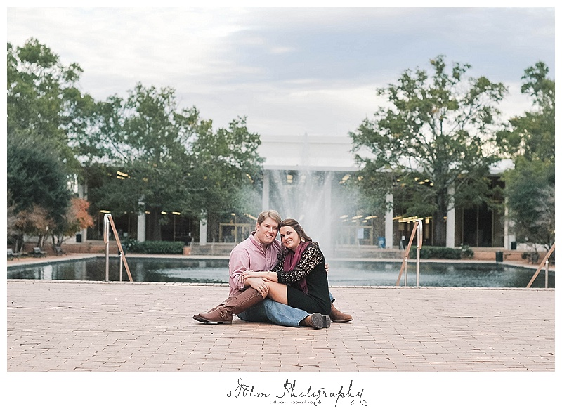 USC Engagement Photography in front of USC library downtown Columbia, SC