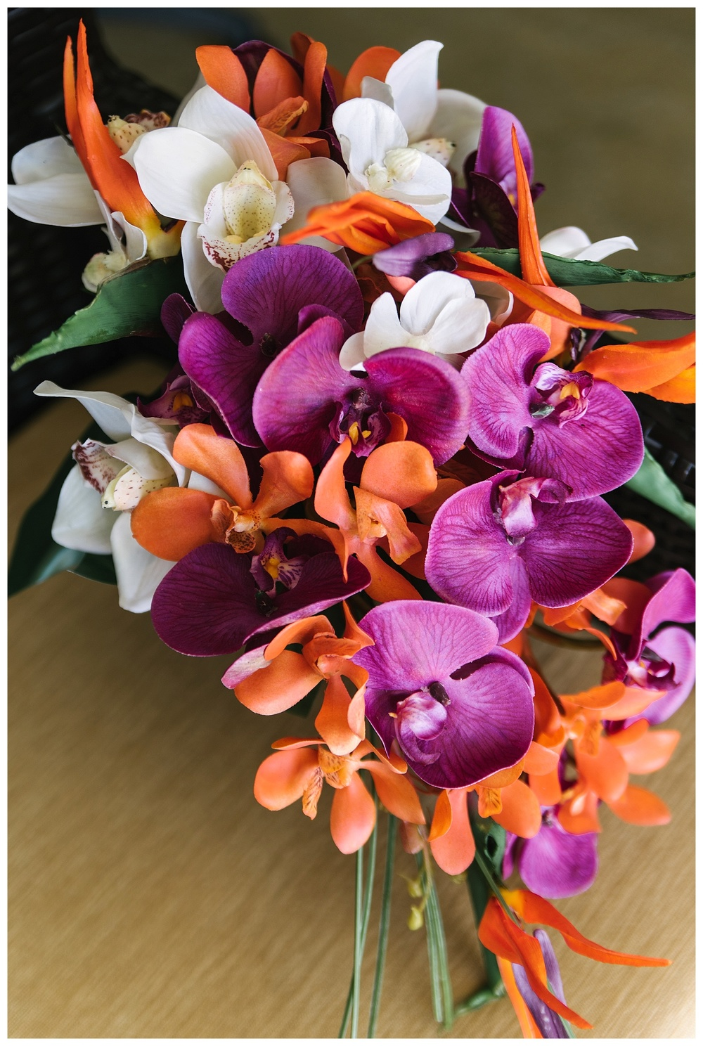 bridal orchid bouquet - honeymoon suite of Aruba Marriott Resort