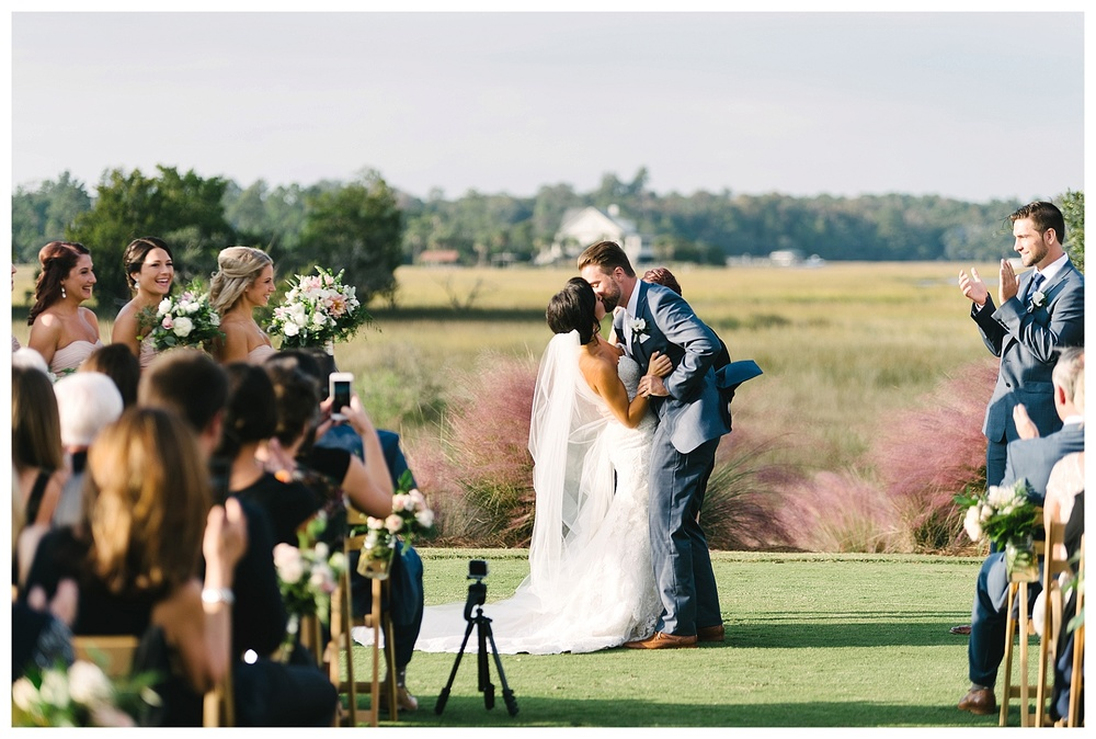 Charleston Weddings | Best Charleston Wedding Venue | Daniel Island Club  -- walking down the aisle. Outdoor ceremony at Daniel Island club wedding
