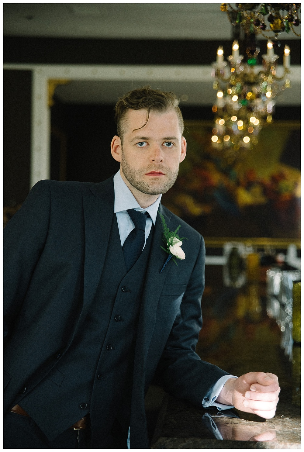 groom's portrait at the abar inside savannah wedding venue Mansion Forsyth