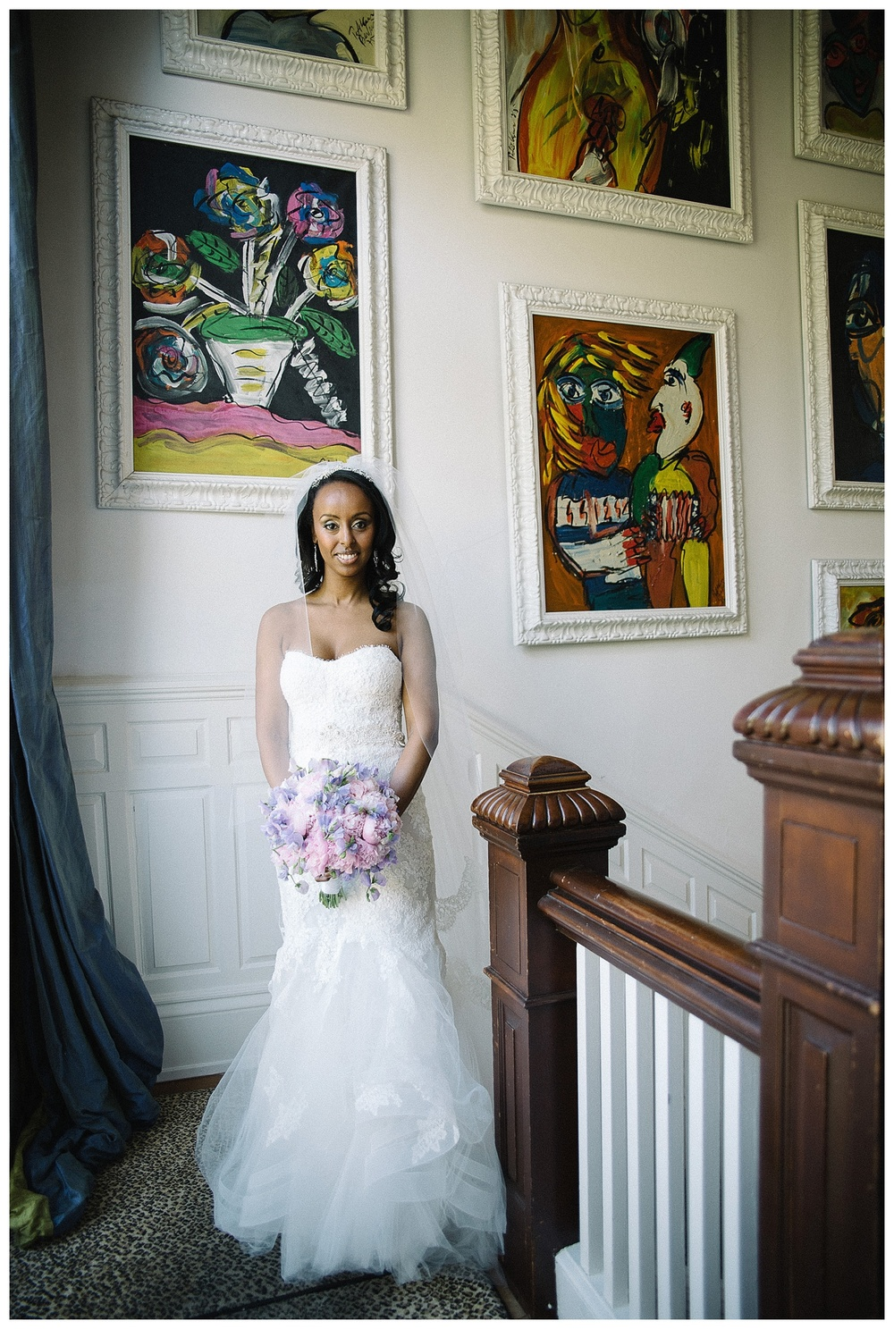 bridal portrait in stairwell at Mansion Forsyth