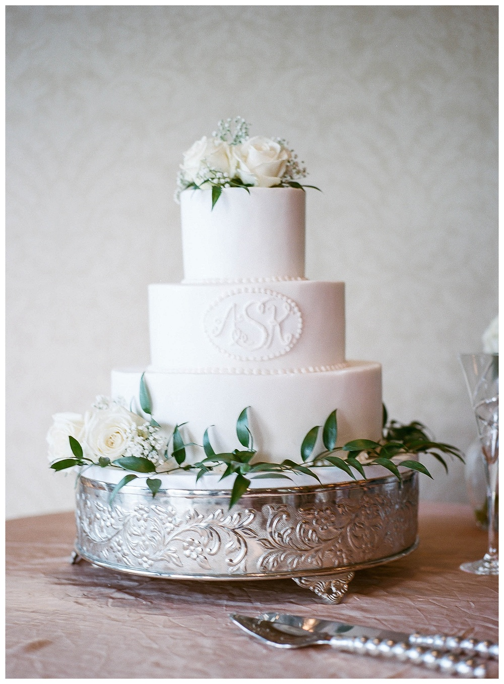 Destination wedding - film wedding photography - buttercream cake at Country Club of South Carolina wedding