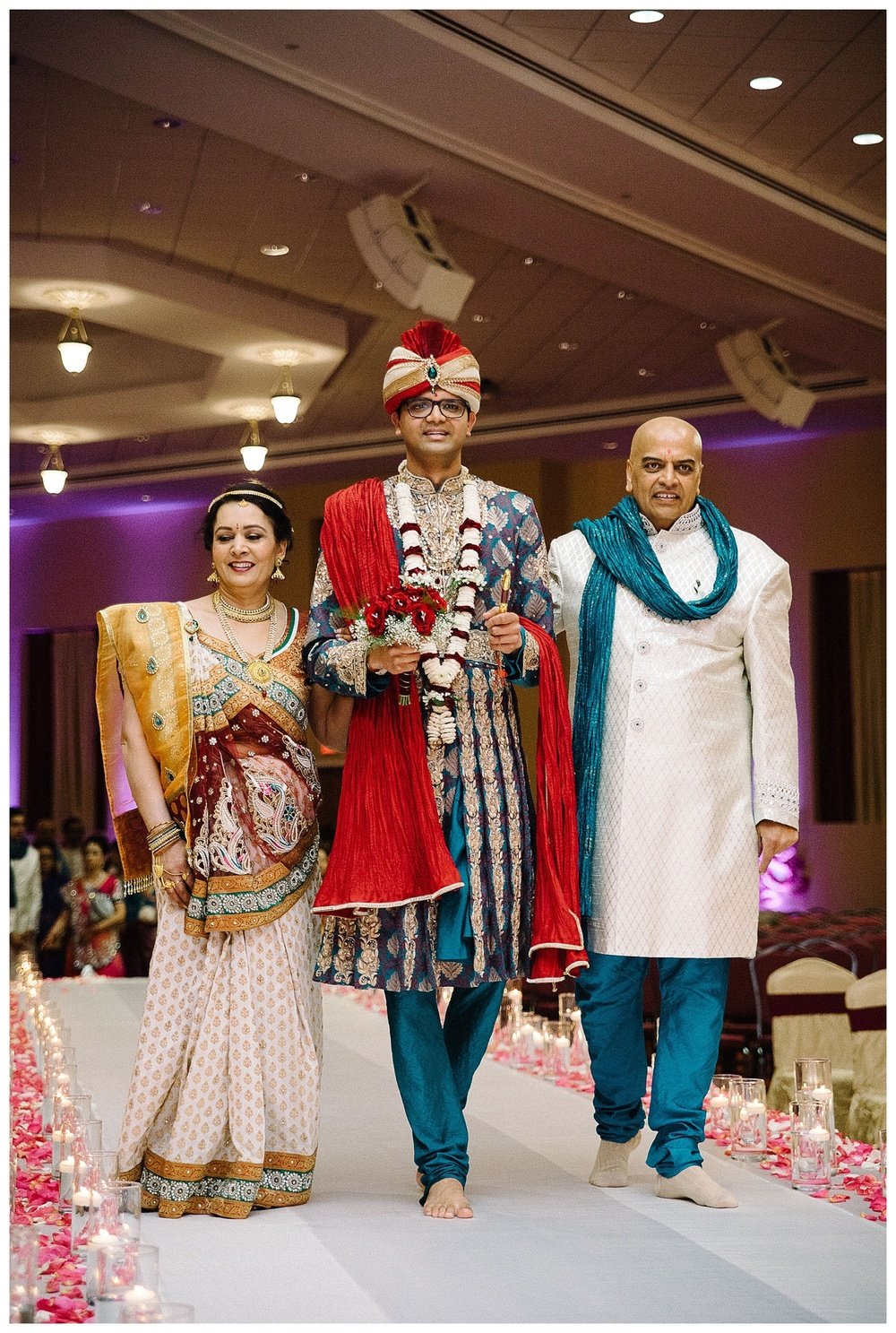 bride's parents present groom at Indian wedding BAPS Atlanta
