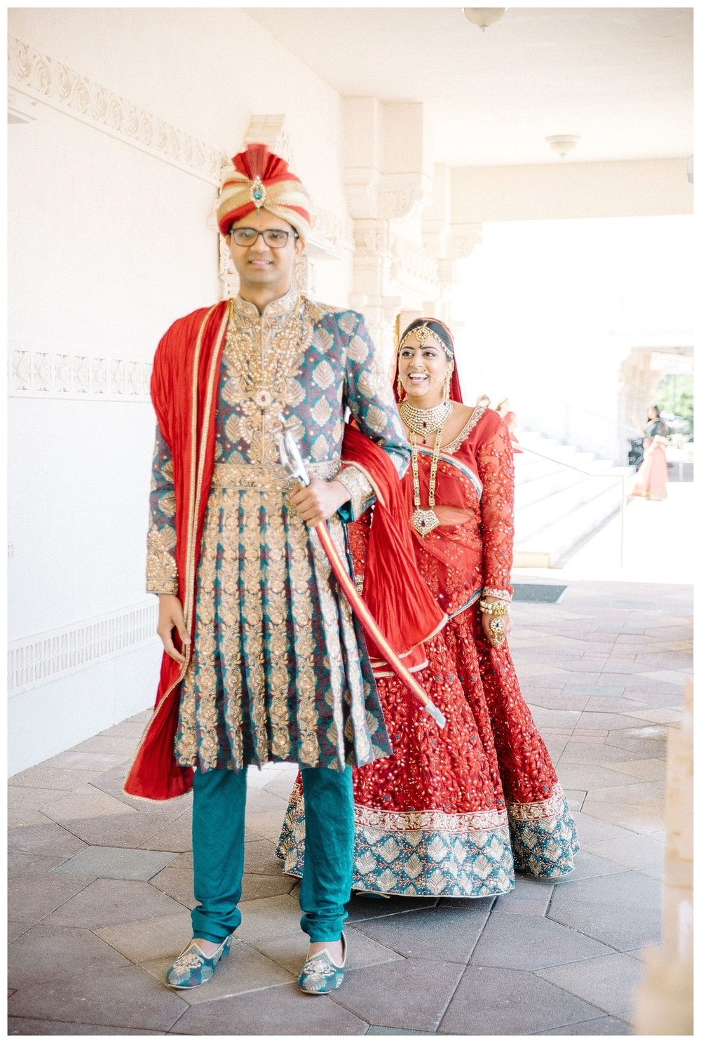 film photograph of first look at BAPS Atlanta Indian Wedding