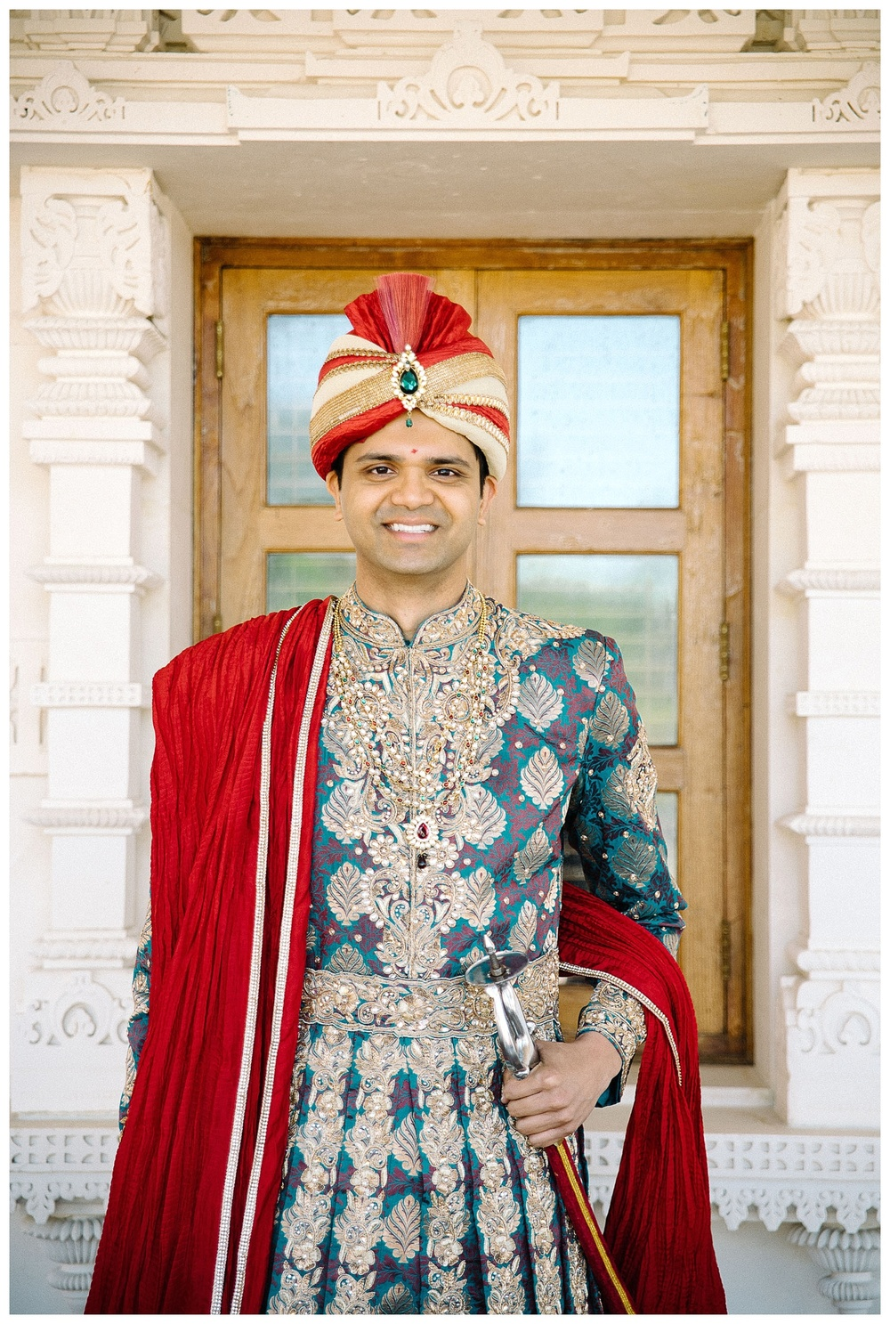groom's portrait at BAPS wedding ceremony - Atlanta