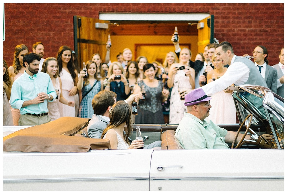 daytime exit photos at Laboratory Mills wedding, Charlotte film photographer