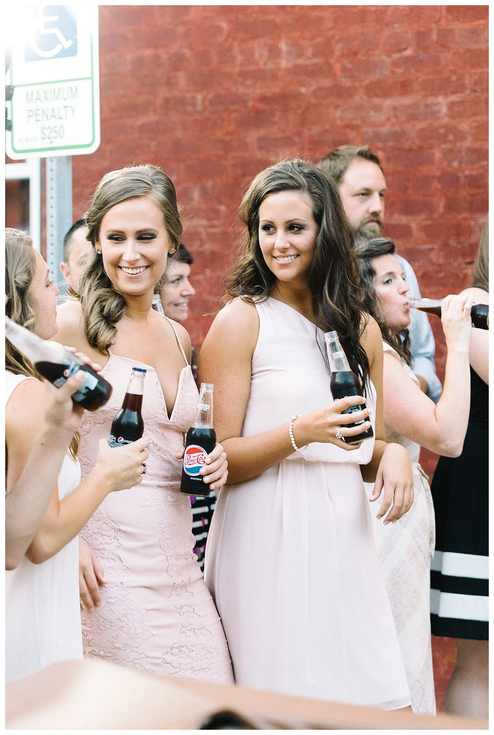 Pepsi wedding toast at Laboratory Mills wedding, Charlotte film photographer