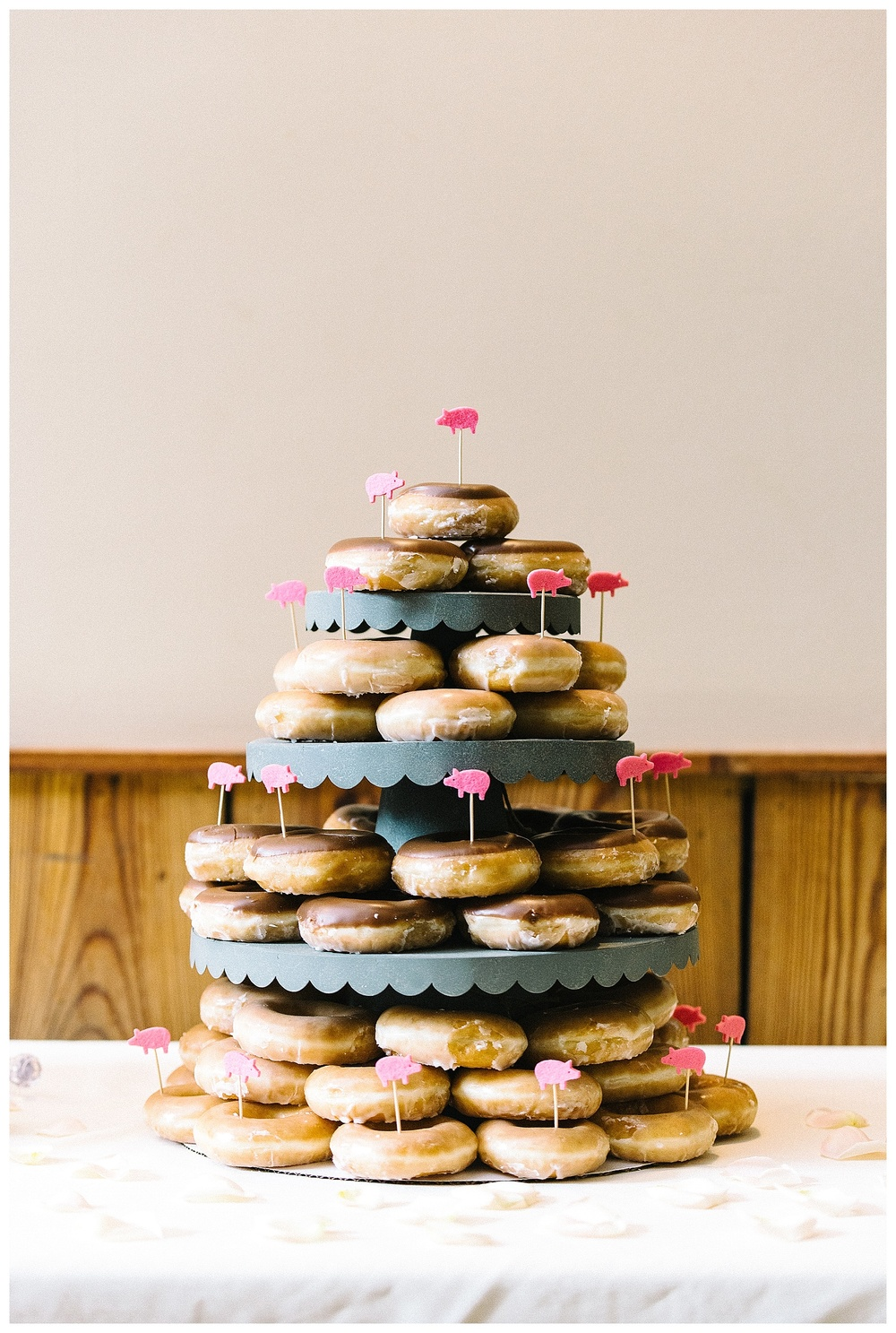 krispy kreme donut cake at Laboratory Mills wedding, Charlotte film photographer