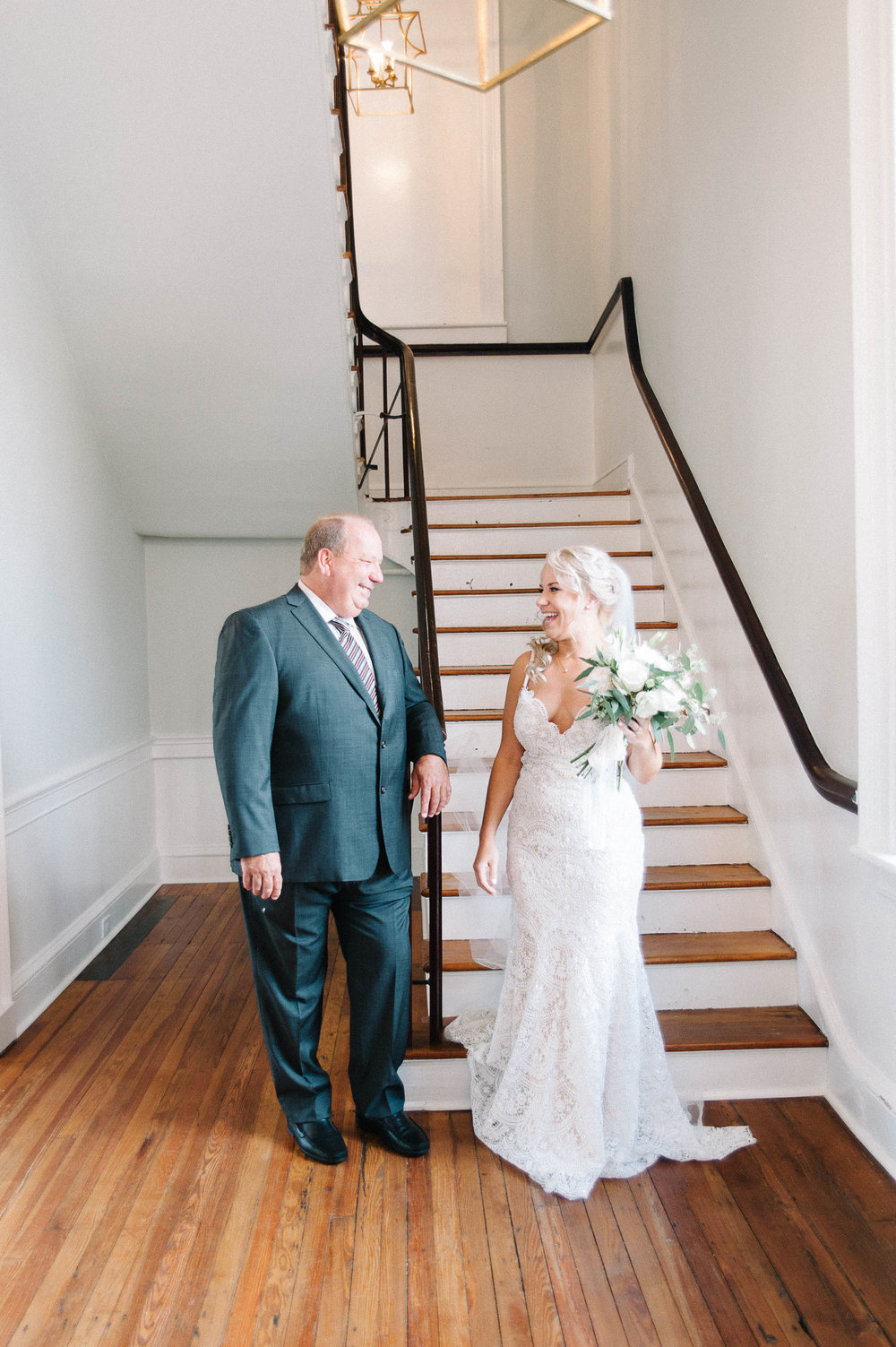 First look with dad at Gadsden House Wedding, Charleston, SC