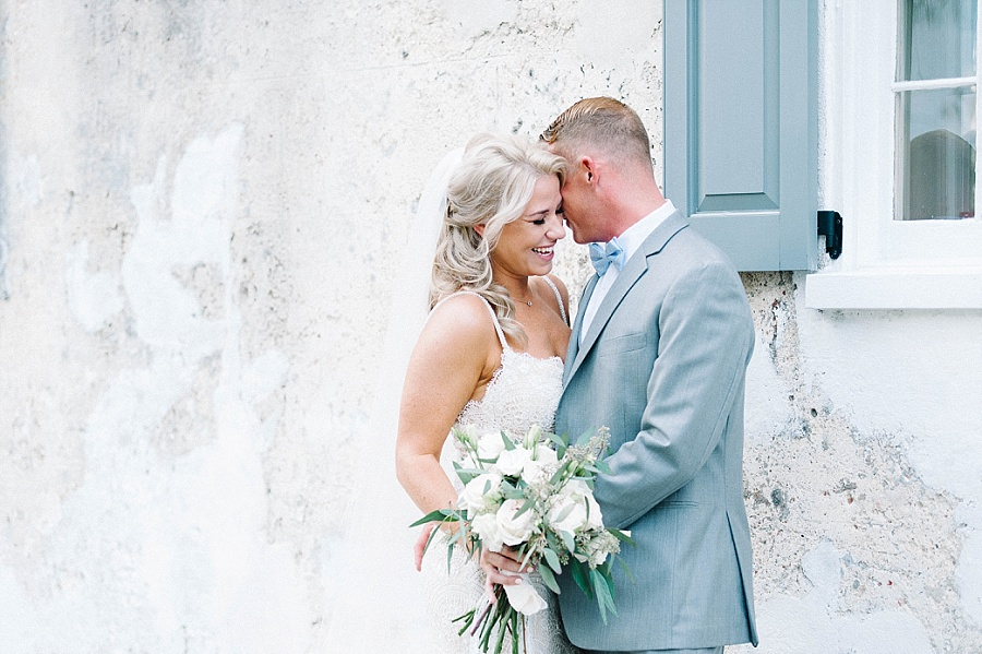 First look with groom at Gadsden House Wedding, Charleston, SC