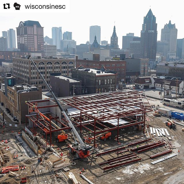 Exciting to see framing go up for the Entertainment Block! Thanks for the shot @wisconsinesc - taken from the upper balcony of the new arena. #entertainmentblock #liveblock #gobucks