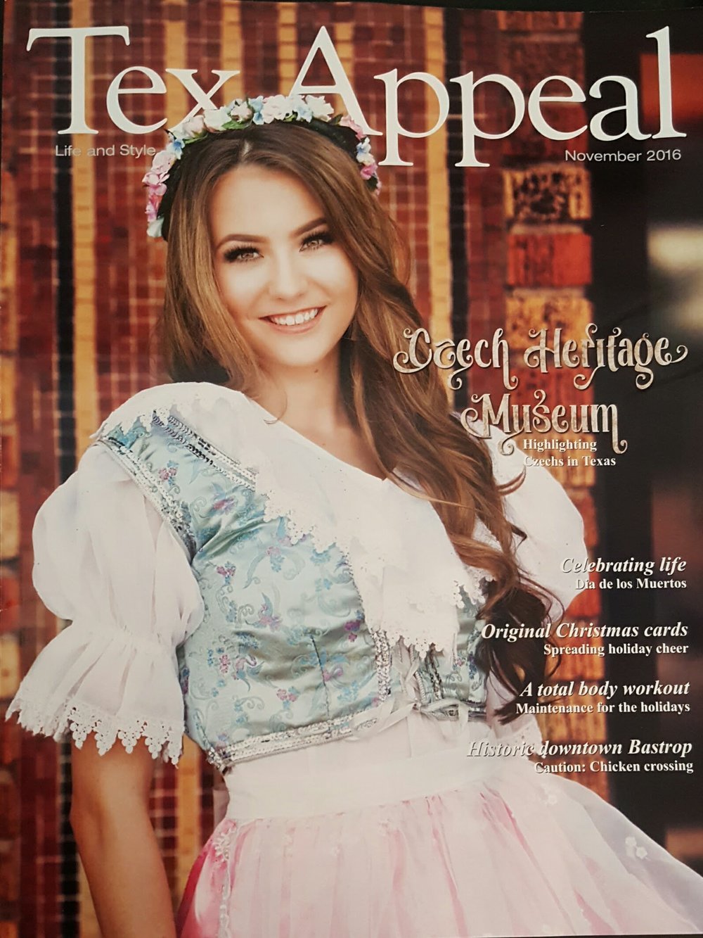 Julia Zavodny models a traditional Czech kroj for the cover of  Tex Appeal  magazine.