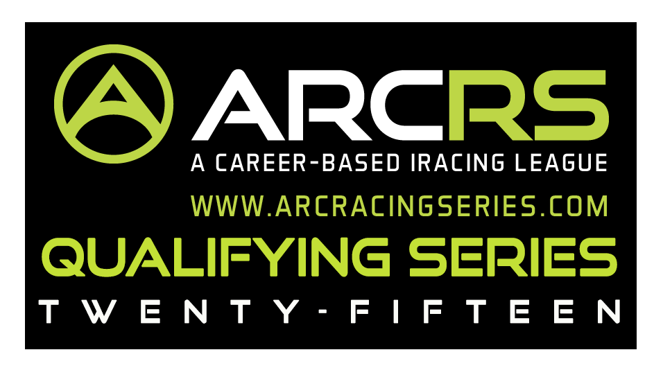 "This is the concept for the ARCRS Qualifying Series logo.  Again, I used the existing ARCRS lettering and stylized ""A"", adding the additional lettering underneath and on top of a black background.  I opted to spell out the year, Twenty-Fifteen rather than the traditional numeric typeface.  This particular logo was used briefly in the league's social media campaign, specifically the league's drivers group.  Image created using Adobe Photoshop CC 2014."