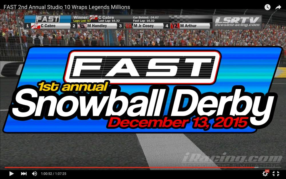 Version one of the FAST Snowball Derby logo, used on LSRTV during a race in 2015.