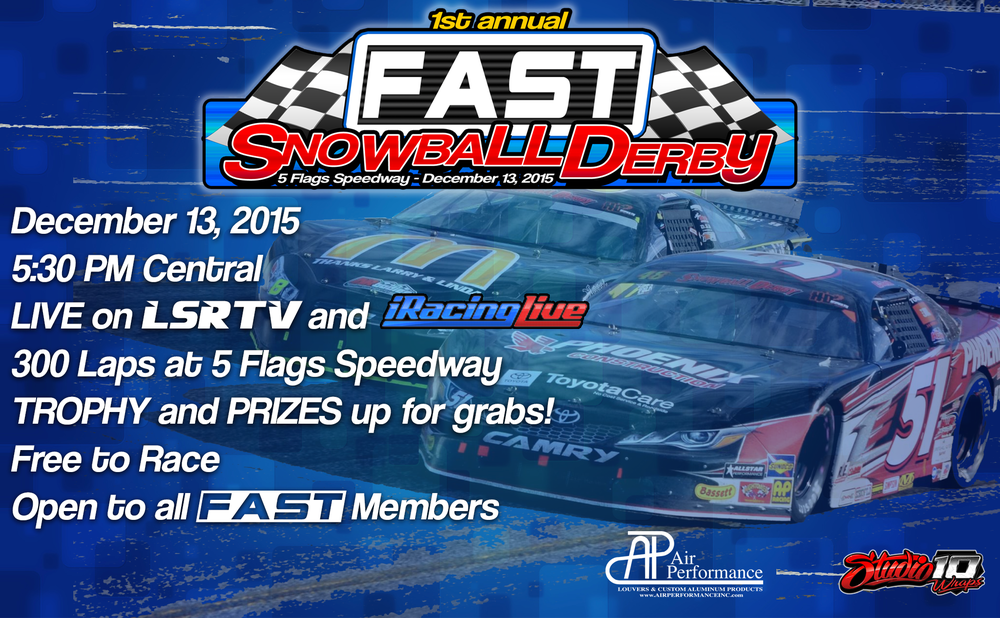 Advertisement for the FAST Snowball Derby.  Notice the effect caused by leaving the artifacts from the the removal of the background of the photo of the cars?  Accidentally awesome.
