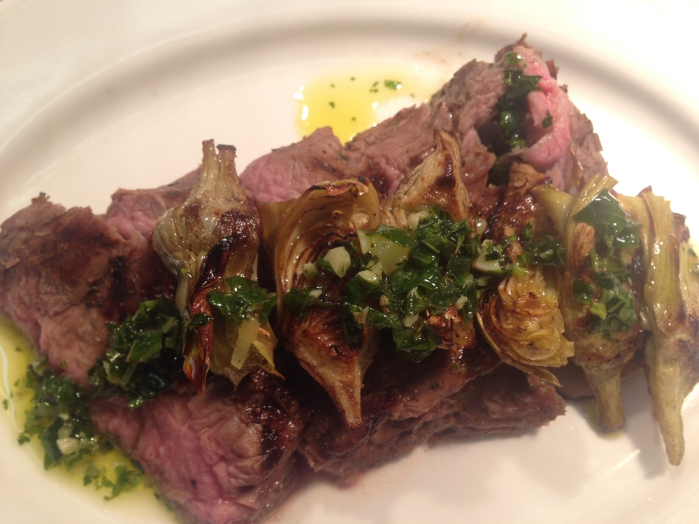 Hanger Steak with Artichokes and Chimichurri