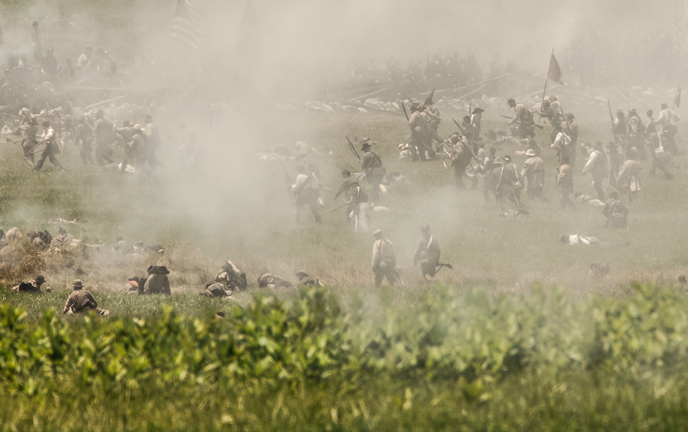 A skirmish ensues on the grounds of the Battle of the Wilderness 150 years after the actual battle.  Image Property of Old Glory Productions LLC