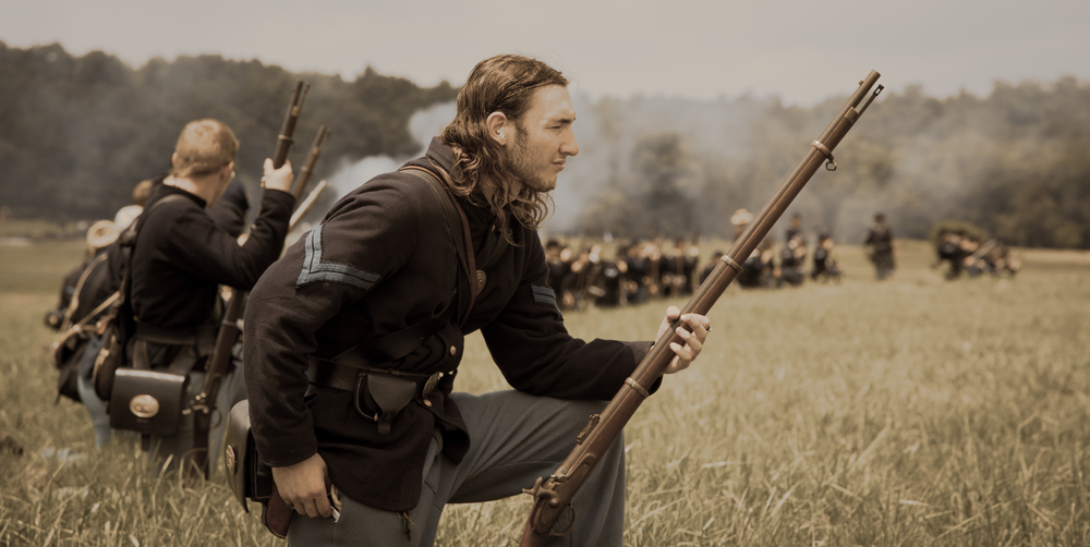 A Union soldier readies for battle at the 150th anniversary of the Battle of Gettysburg  Image property of Old Glory Productions LLC